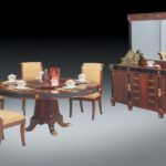 3001 BUFFET 78.7*21.2*36.2 MIRROR 68.8*2.3*43.3  ROUND DINING TABLE 70.8DIA*30.7h SIDE CHAIR 20.8W*25.1D*39.3H