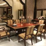 E10 long dining table Dining table ; 98x47x30 side chair 20.5 x 25.6 x 38.6 arm chair 22.8 x 25.6 x 38.6