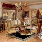 E16-  Dining Room 86.6Wx47.2Dx29.1H(glass top) E16-Long Dining Table 94.4Wx47.2Dx30.7H(wood top) E16-Long Dining Table 70.8Wx41.3Dx30.7H (wood top) E16-Arm Chair 23.6Wx25.5Dx46.8H E16- Buffet and Mirror 84.6Wx25.1Dx89.3H E16- Dining Car 32.6Wx21Dx36.2H E16- Floor Lamp 19.2Diax71.2H